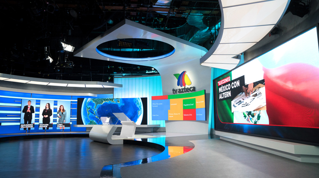 TV Azteca - Mexico City, Mexico - News Sets Set Design - 1